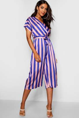 boohoo Wrap Tie Detail Wide Stripe Culotte Jumpsuit