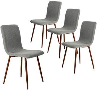 Coavas Set of 4 Dining Chairs Kitchen Fabric Cushion Side Chairs with Sturdy Metal Legs for Dining Living Room Table