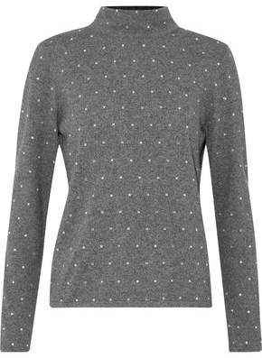 Milly Crystal-Embellished Knitted Turtleneck Sweater