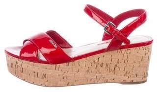 Prada Sport Patent Leather Platform Sandals