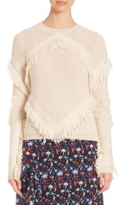Tanya Taylor Cha Cha Fringe Sweater $375 thestylecure.com