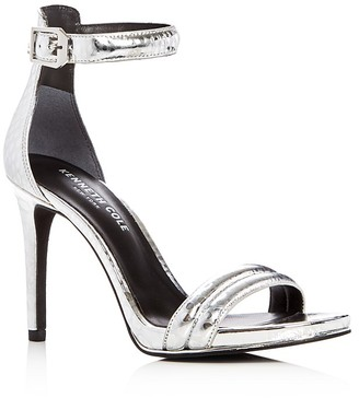 Kenneth Cole Brooke Metallic Embossed High Heel Sandals $130 thestylecure.com