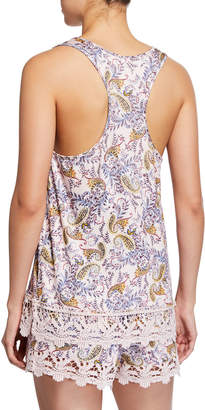 Jessica Simpson Flower in Her Hair Paisley Cami & Shorts PJ Set