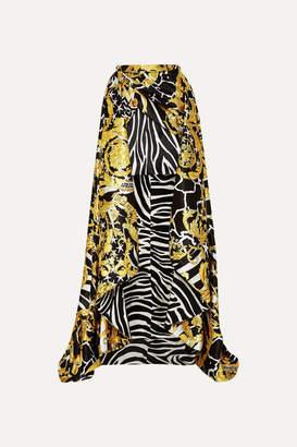 Versace Asymmetric Printed Satin Skirt - Gold