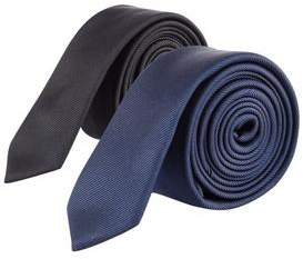 Burton Mens 2 Pack Navy and Black Skinny Tie