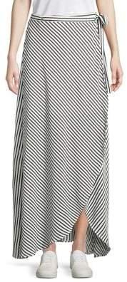 Design Lab Striped Tie-Front Wrap Skirt