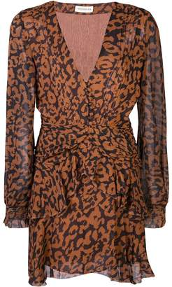 Nicholas leopard print ruffle-trimmed dress