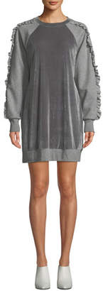 Elie Tahari Destine Crewneck Velvet Combo Knit Dress w/ Ruffled Trim