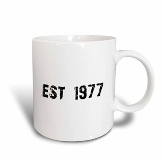 3dRose Grunge Est Established in 1977 - Seventies Baby Born Child of the 1970s - Personal custom birth year, Ceramic Mug, 15-ounce