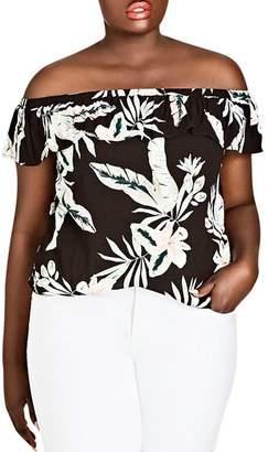 City Chic Plus Oahu Floral Off-the-Shoulder Top