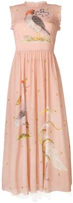 RED Valentino bird print empire line dress