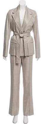 Saint Laurent Belted Wool Silk Suit Set