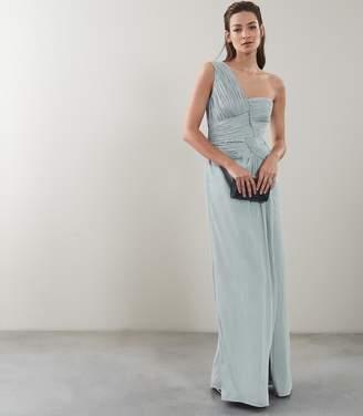 Reiss Abigail One Shoulder Pleat Detail Maxi Dress