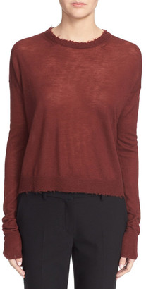 Helmut Lang Raw Edge Cashmere Crew Neck Sweater $360 thestylecure.com
