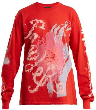 Blue Roses - Powder Blue Printed T Shirt - Womens - Red