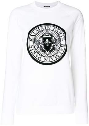 Balmain logo crest print sweatshirt