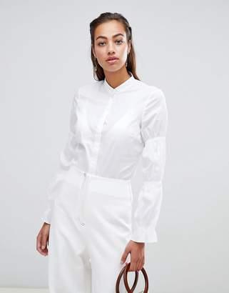 Sisley collarless elasticated sleeve detail shirt