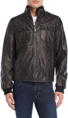 Gaudi' Gaudi Jeans Faux Leather Ribbed Trim Jacket