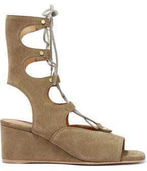 c4e2d52bb Chloé Foster Lace-up Cutout Suede Wedge Sandals