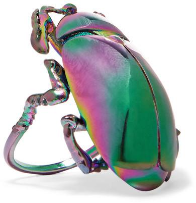 Balenciaga Balenciaga - Beetle Iridescent-tone Ring - Gunmetal