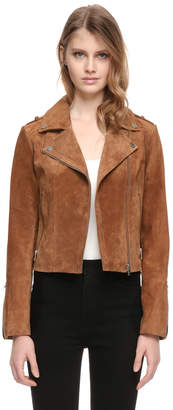 Soia & Kyo MIKAILA suede leather jacket with asymetrical zipper