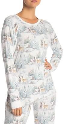 PJ Salvage Long Sleeve Deer Print Top