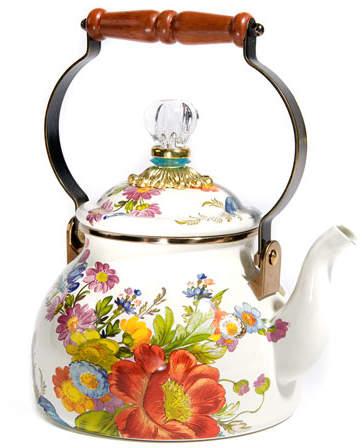 MacKenzie-Childs Flower Market White Two-Quart Tea Kettle