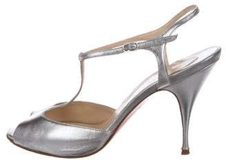 Christian Louboutin Metallic T-Strap Sandals