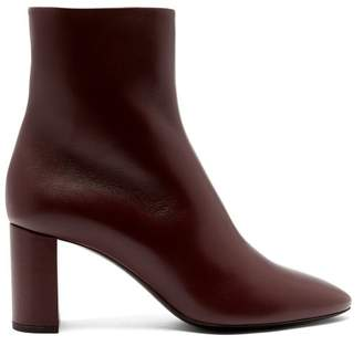 Saint Laurent Lou Leather Ankle Boots - Womens - Burgundy