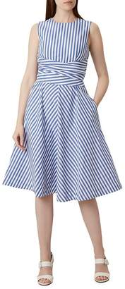 Hobbs London Twitchill Tie-Waist Striped Linen Dress