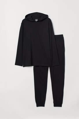 H&M Pajamas with Hooded Shirt - Black