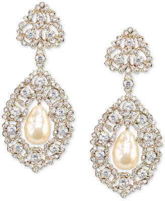 Nina Gold-Tone Cubic Zirconia & Imitation Pearl Drop Earrings