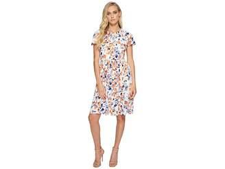 London Times Brush Blossom Raglan Full Skirt Dress Women's Dress