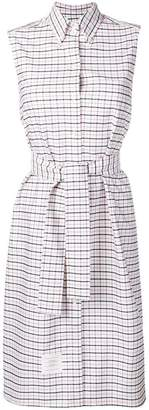 Thom Browne Sleeveless Tartan A-Line Shirtdress
