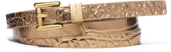 Michael Kors Metallic Crocodile-Embossed Belt