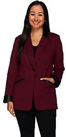 Susan Graver Ponte Jacket with Faux LeatherTrim - Petite