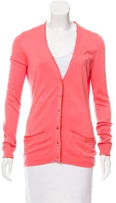 Lela Rose V-Neck Silk Cardigan
