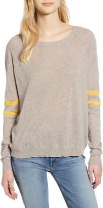 Velvet by Graham & Spencer Stripe Sleeve Cotton Sweater