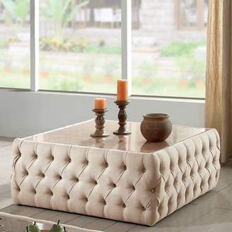 Furniture of America Racquelle Button Tufted Faux Marble Top Square Coffee Table