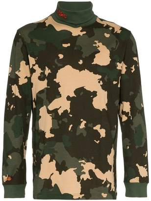 032c camo print roll neck jumper
