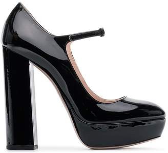 Miu Miu Black 135 Leather Mary Jane Pumps