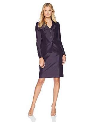 Le Suit Women's 3 Button Shawl Collar Shiny Skirt