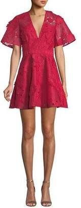 La Maison Talulah Virtuous Floral Lace Eyelet V-Neck Short Dress
