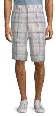 Thom Browne Plaid High-Waist Shorts