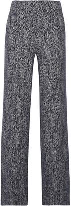 Theory Talbert Herringbone Stretch-knit Wide-leg Pants - Midnight blue