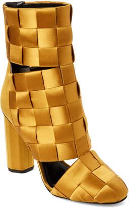 Marco De Vincenzo Woven Satin Cutout Ankle Boots