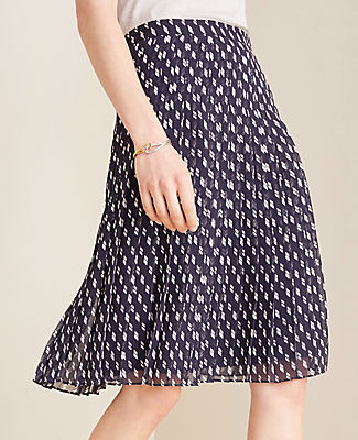 Ann Taylor Petite Dashed Pleated Skirt