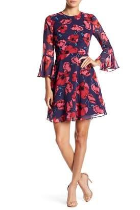 Donna Morgan Floral Bell Sleeve Dress