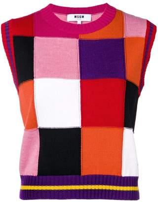 MSGM checked sleeveless jumper