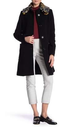 Love Moschino Faux Fur Leopard Print Wool Blend Coat